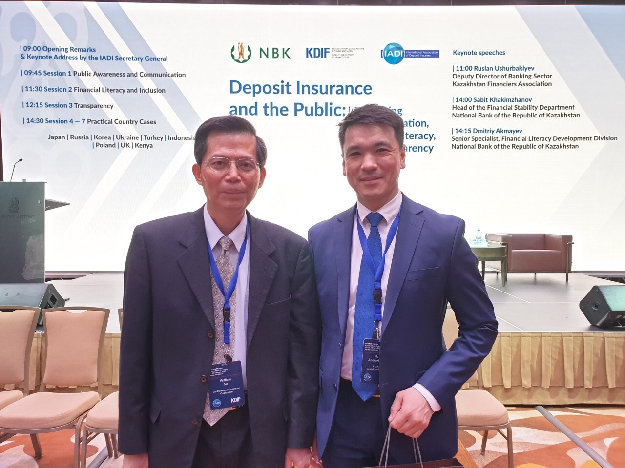 Photo of CDIC President William Su (left) and EXCO event host organization- the KDIF Chairman Mr. Nurlan Abdrakhmanov (right)